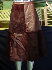 Women's Misses Beulah Size M/L Red Faux Fur and Leather Aline Skirt NWT