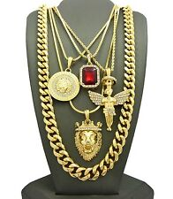 NEW ICED OUT 4 CHAIN SET WITH 10mm MIAMI CUBAN CHAIN.