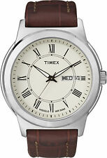 Timex T2E581, Men's Watch, Brown Leather Watch, Indiglo, Day/Date, T2E5819J