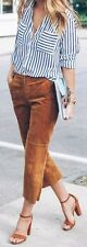 nwt $128 EXPRESS genuine suede flat front 1970's boho dress culottes pants S 6