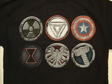 Marvel Avengers SHIELD Emblems Captain America Thor Iron Man Etc Black T Shirt S