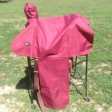 Burgundy water resistant nylon Western saddle cover w/elastic straps