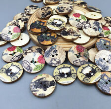 50X Retro Vintage car Wooden Buttons 2 Holes Sewing Scrapbooking decoration 20mm