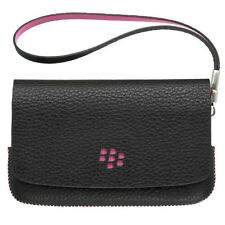 Genuine BlackBerry PEARL 3G 9100 9105 Black & Pink Leather Folio, Mirror & Strap