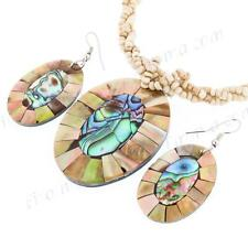 "2"" MOASIC PAUA ABALONE MOTHER OF PEARL CREAMY BEIGE BEAD necklace & earring SET"