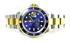 2005 Men's Rolex Submariner 18k Two Tone 16613 Blue cal 3135 31J 40mm Stainless