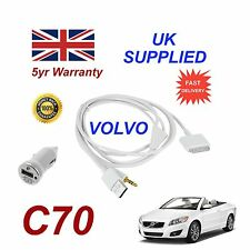 VOLVO C70 For Apple iPhone 3gs 4 4s iPod Audio Cable & 1.0A Power Adapter w