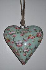 Herz Metall grün pink Les Fleurs Rosen Shabby Nostalgie Fensterdeko Türdeko