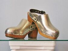 Juicy Couture Metallic Gold Leather Wooden Heel Clog Shoes Size 6
