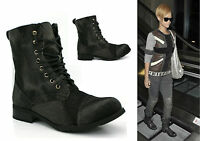 LADIES WOMENS ANKLE ZIP UP FLAT HEEL ARMY MILITARY WORKER STYLE BOOTS SHOES SIZE