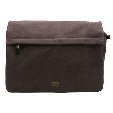 Troop London - Black Canvas Classic Messenger Bag with Leather Trim
