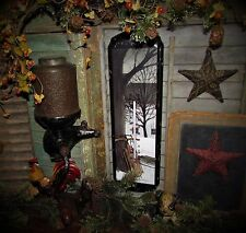 Primitive Antique Vtg Style Christmas Winter Snow Sled Art Tin Thermometer Sign