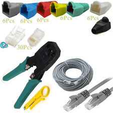 30M CAT5e Network Ethernet Patch Cable Connectors Boots Cutter Crimping Tool Kit