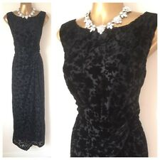 ROMAN Maxi Dress SIZE 14 Black Velvet Cruise OCCASION WEDDING EVENING Gown
