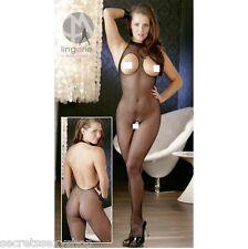 bodystocking tuta sexy nero rete maglia stretta intimo donna aperto sexy shop