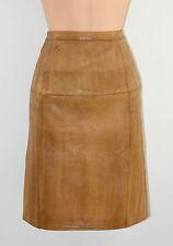 """Vintage Cuero Marrón, Oficina de la alta cintura lápiz falda A La Rodilla Tamaño W27 """" 6-1989"""""""