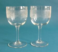 Pair of Late Victorian Spiral Etched Large Wine Glasses
