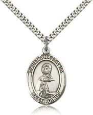 "Saint Anastasia Medal For Men - .925 Sterling Silver Necklace On 24"" Chain - ..."