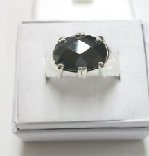"MAN'S FACETED BLACK ONYX RING SET IN STERLING SILVER/SIZE 9.5/""SANDI""INSIDE/NICE"
