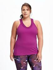 NEW OLD NAVY WOMENS PLUS SIZE 4X FUSCHIA GO-DRY FITTED MESH TRIM TANK TOP