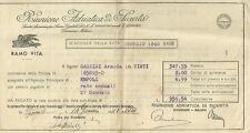 Ricevuta Pagamento Annua Polizza Vita Riunione Adriatica di Sicurtà Empoli 1920