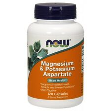 NOW Foods Magnesium and Potassium Aspartate 120 Vcaps FAST SHIPPING