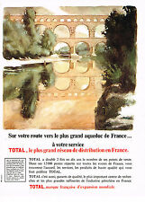 PUBLICITE ADVERTISING 015  1966  TOTAL carburants LE PONT DU GARD