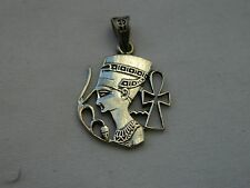 Egyptian Silver Queen Nefertiti Ankh & Lotus Pendant 1""