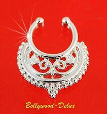 Setto Nasenclip Anello Per Il Naso Finto Piercing Bollywood Tribale Argento #3