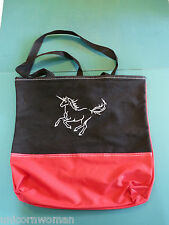 Running Unicorn Tote Reusable Bag Carryall Red & Black Embroidery