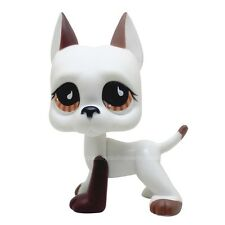 #750 Rare LPS Littlest Pet Shop White & Brown Great Dane DOG Puppy Brown Eye TOY