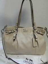 Coach 16359 Madison Kara Beige Leather Satchel Shoulder Bag