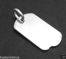 "2"" Large Engravable Military Dog Tag ID Charm Pendant  Real 925 Sterling Silver"