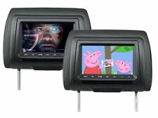 "Pair of black car headrests with built in 7"" LCD screen with USB, SD, AV IN"