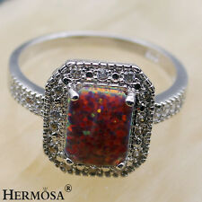 Hermosa Christmas Free Shipping 925 Sterling Silver Orange Opal Topaz Ring. 8#