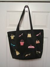 Black Tote Bag with Purse / Shoes / Heels Theme ~ NEW