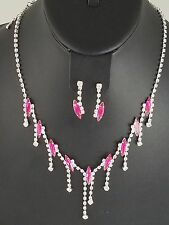 Silver and Pink Rhinestone FASHION Necklace Set