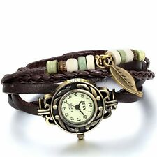 Vintage Braided Leather Wrap Leaf Charm Bracelet Analog Quartz Wrist Watch