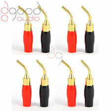 8 x Gold Plated Angled Speaker Pins 2mm Banana Plug Quality Terminal Connectors