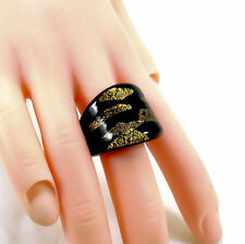 Italian Murano Black & Gold Dress Fashion Cocktail Ring UK Size Q US 8.5 57.5mm