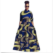 USM Womens African dresses traditional Print Female Clothes A-type zipper