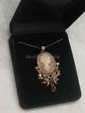 Victorian Regency style tan faux cameo necklace antique gold toned boxed