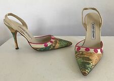 Manolo Blahnik 38.5 8 Snakeskin Leather Slingback Pointed Toe Heels Pink Teal