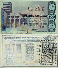Año 1965. 500 Pts. Nº 11537. Décima parte del billete. 22 de Diciembre.