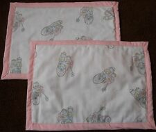 COUNTRY COTTAGE SET OF 2 COUNTRY BICYCLE BUNNIES QUILTED FABRIC PLACEMATS - NEW