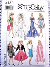 9334 SEWING PATTERN~UNCUT 1989~BARBIE DOLL CLOTHES:EVENING GOWN&POODLE SKIRT++