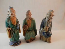 "Vintage Chinese Mudmen lot of 3 men  Glazed 3"" - 4"""