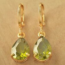 Yellow Gold Plated Teardrop Olive Green Peridot Womens Vintage Dangle Earrings