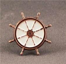 Metal Enamel Pin Badge Brooch Ships Wheel Antique Copper Boat Sailor Captain