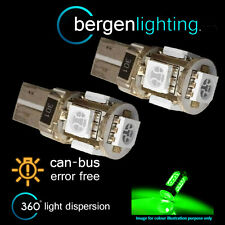 2X W5W T10 501 CANBUS ERROR FREE GREEN 5 LED SIDELIGHT SIDE LIGHT BULBS SL101301